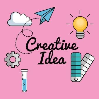 Ideas creativas establecen elementos