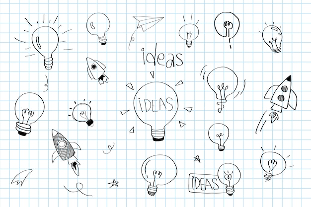 Las ideas de creatividad bombillas doodle colección vector
