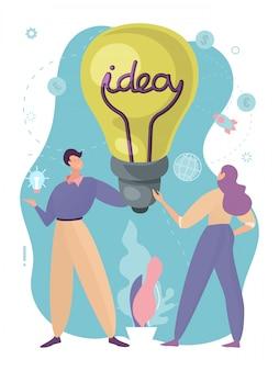 Ideas de educación conceptual en los negocios, comunicación entre personas modernas y creativas, diseño, ilustración de estilo de dibujos animados. brainchildren, bombilla con inscripción en manos de trabajadores hombre y mujer