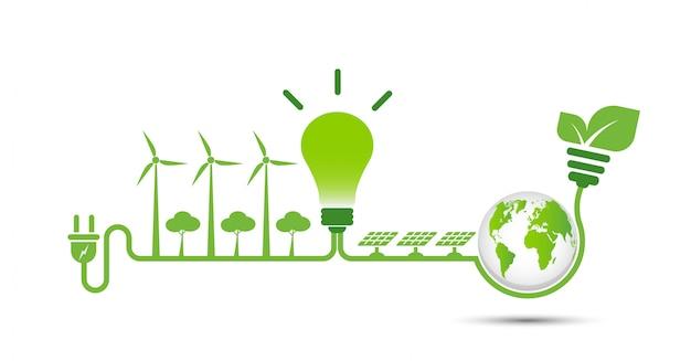 Las ideas de energía salvan el concepto del mundo.