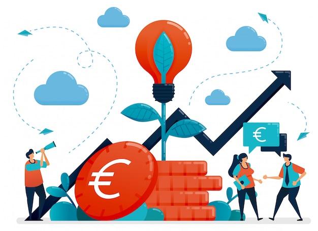 Ideas para inversión. interés bancario y crecimiento del ahorro. metáfora de la bombilla en planta de moneda euro. fondos mutuos para inversión bancaria.