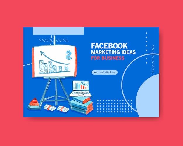 Ideas de marketing de facebook en acuarela