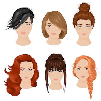 Ideas de peinado de mujeres 6 iconos colección