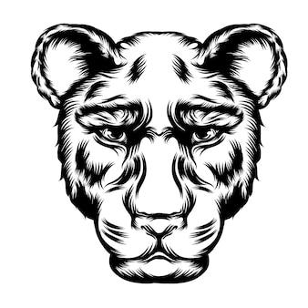 Las ideas del tatuaje para la ilustración del leopardo de una sola cabeza.