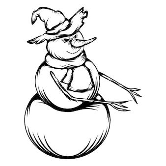 Las ideas de tatuajes del muñeco de nieve enojado usa el sombrero de bruja