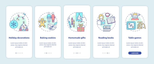 Ideas de vacaciones de navidad incorporando la pantalla de la página de la aplicación móvil con conceptos