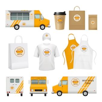 Identidad de camiones de comida. herramientas de negocios de catering rápido para tarjetas de entrega de restaurantes móviles logotipos plantilla de paquetes de carteles en blanco