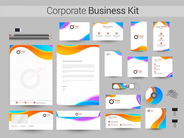 Identidad corporativa, business kit con olas coloridas.