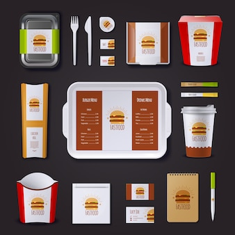 Identidad corporativa de comida rápida con un conjunto de paquetes y tarjetas de visita de la bandeja de notas.