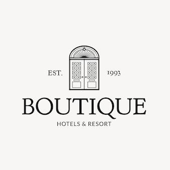 Identidad corporativa editable del negocio del vector del logotipo del hotel con los hoteles boutique y el mensaje del resort