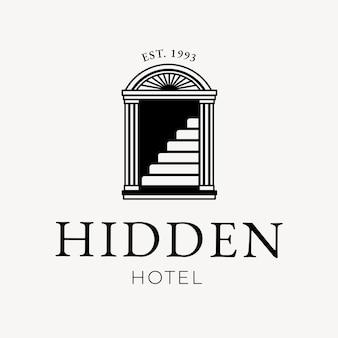 Identidad corporativa editable del negocio del vector del logotipo del hotel con el texto oculto del hotel