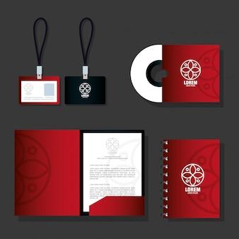 Identidad corporativa de maqueta de marca, material de papelería de maqueta