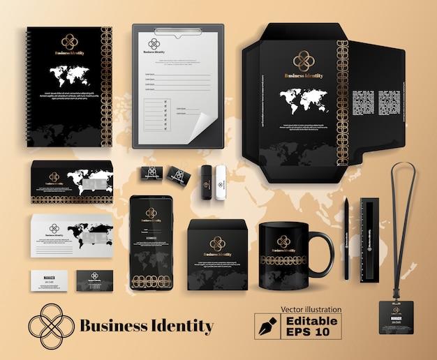 Identidad de la empresa comercial en color oro negro