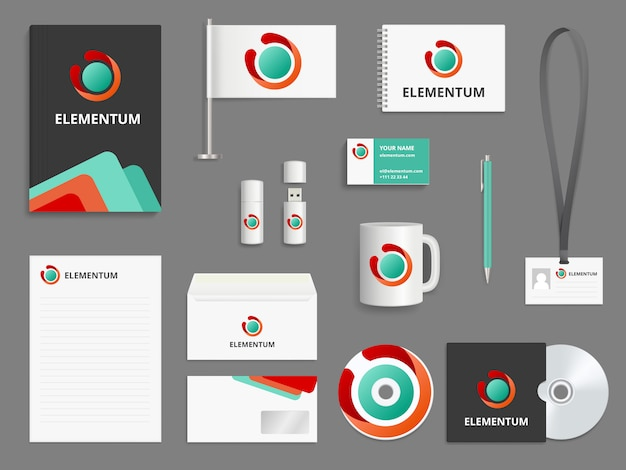 Identidad empresarial. marca realista cubierta de sobre de carpeta de maqueta realista para cd tarjetas de visita en blanco casillas de verificación lápiz usb
