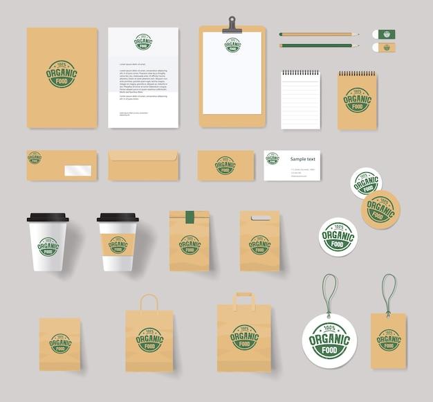 Identidad de marca de alimentos orgánicos con diseño de logotipo
