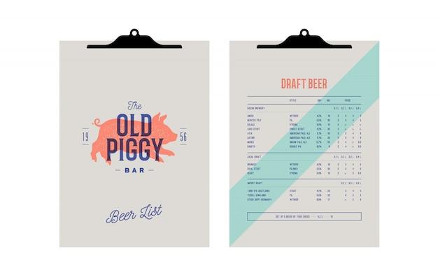 Identidad de marca establecida para beer bar, pub. menú del portapapeles