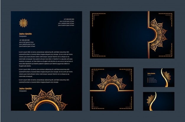 Identidad de marca de lujo o plantilla de diseño estacionario con arabesco de mandala ornamental de lujo
