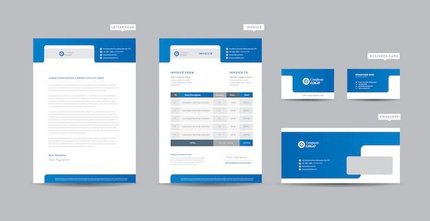 Identidad de marca de negocios corporativos   diseño estacionario   membrete   tarjeta de visita   factura   sobre   diseño de inicio