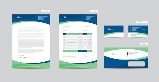 Identidad de marca de negocios corporativos | diseño estacionario | membrete | tarjeta de visita | factura | sobre | diseño de inicio