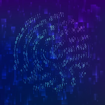 Identificación biométrica de huellas dactilares de código binario. llave digital para identificación de software. escáner de huellas dactilares en sistema de tecnología futurista. ilustración vectorial