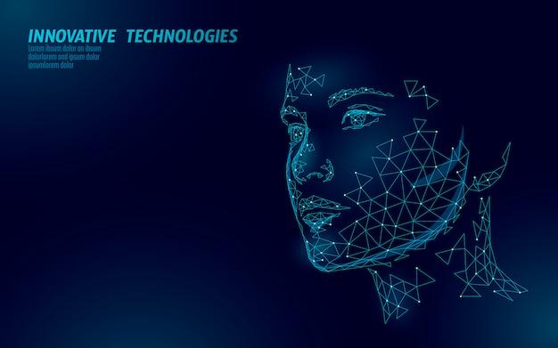 Identificación biométrica del rostro humano femenino de baja poli. concepto de sistema de reconocimiento. tecnología de innovación de escaneo de acceso seguro a datos personales. ilustración de representación poligonal 3d