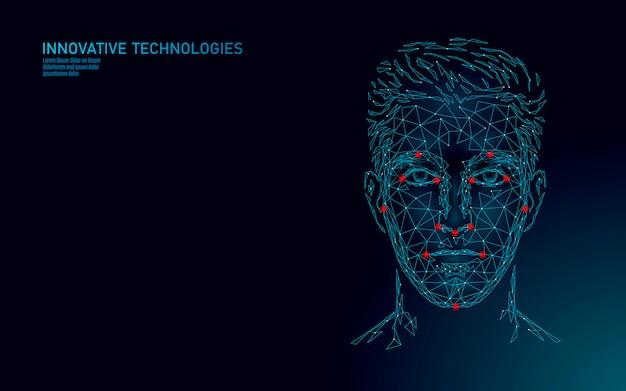 Identificación biométrica del rostro humano masculino de baja poli. concepto de sistema de reconocimiento. tecnología de innovación de escaneo de acceso seguro a datos personales. ilustración de representación poligonal 3d