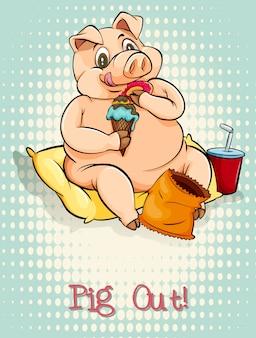 Idioma inglés cerdo fuera