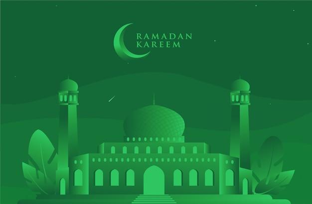 Ied mubarrak / ramadan kareem green mosque