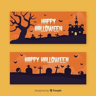 Iglesia del cementerio en noche plana pancartas de halloween