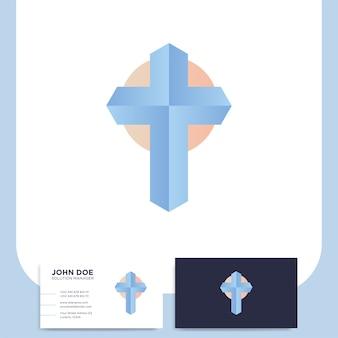 Iglesia moderna logo cruz 3d