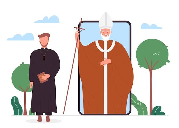 Iglesia, noticias religiosas en línea, sacerdotes cristianos de dibujos animados en un teléfono inteligente de gadget de aplicación móvil