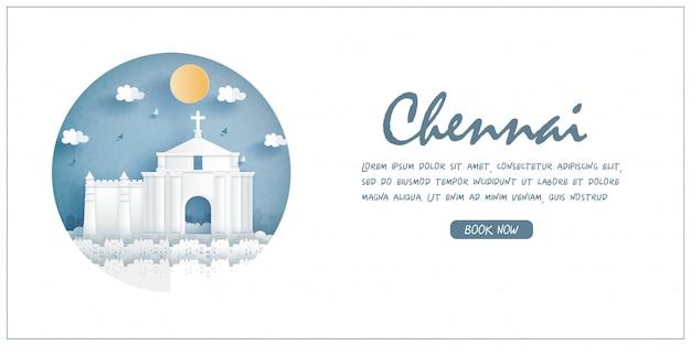 Iglesia de st. thomas mount, chennai, india. monumento de fama mundial con marco blanco y etiqueta. postal de viaje y cartel, folleto, ilustración publicitaria.