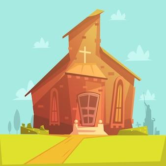Iglesia vieja construcción de fondo de dibujos animados