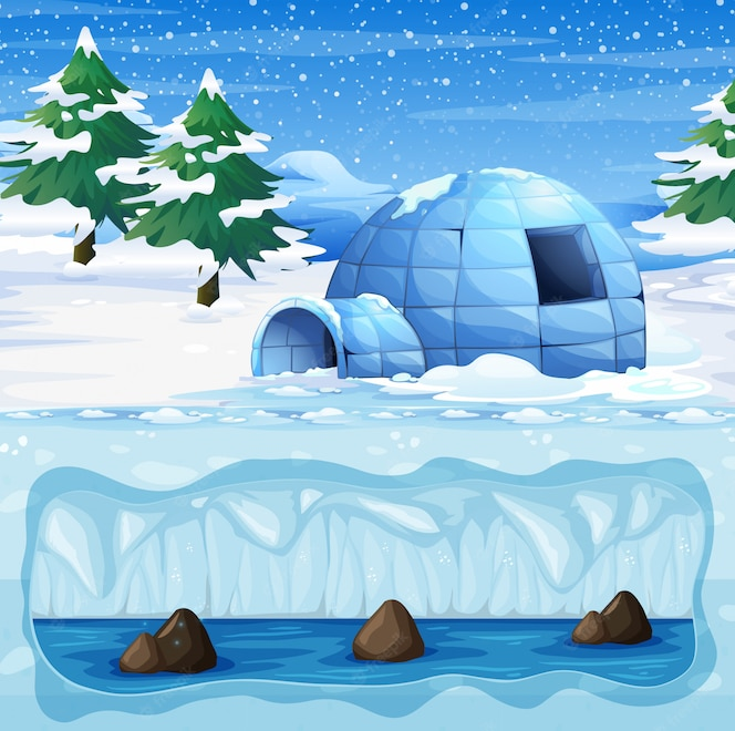 Igloo en el polo norte frío