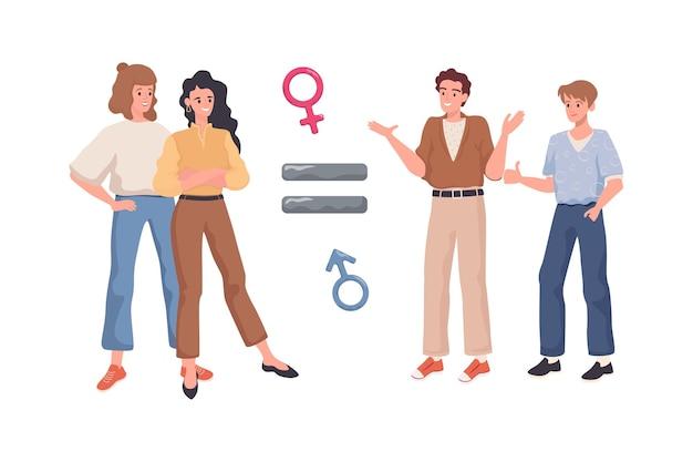 Igualdad de género vector concepto plano signo igual entre feliz sonriendo