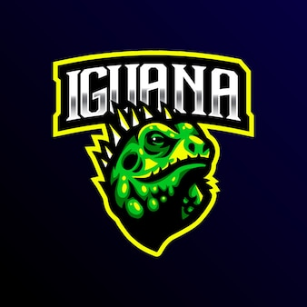 Iguana mascot logo esport gaming ilustración.