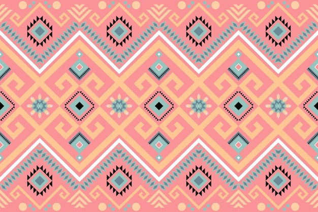 Ikat oriental geométrico rosa pastel lindo inconsútil. diseño de patrón étnico tradicional moderno para fondo, alfombra, fondo de papel tapiz, ropa, envoltura, batik, tela. estilo de bordado. vector.