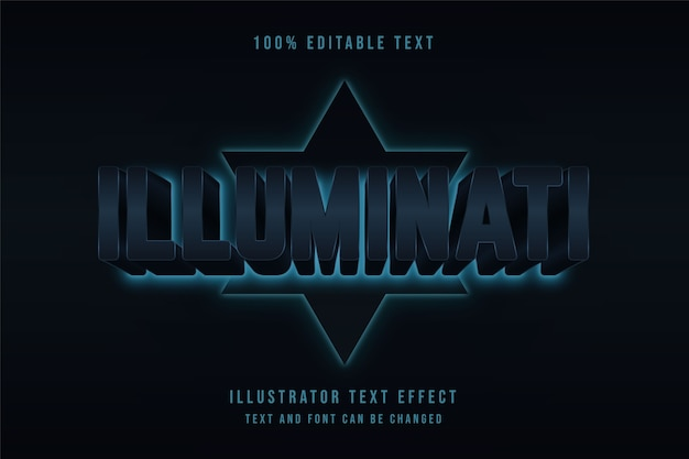 Illuminati, efecto de texto editable 3d gradación roja efecto de estilo cinematográfico negro