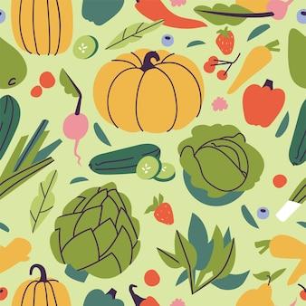 Illustartion conjunto de frutas y verduras.