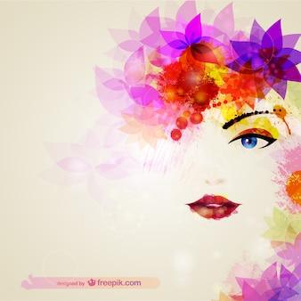 Illustración cara de mujer con colores brillantes