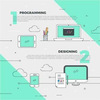 Illustración de diseño y programación creativa vector gratuito