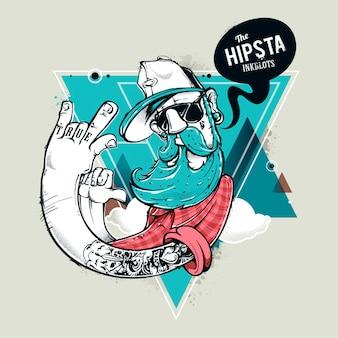 Illustración de personaje hipster
