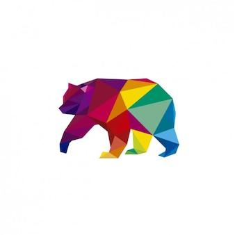 Illustración poligonal de un oso