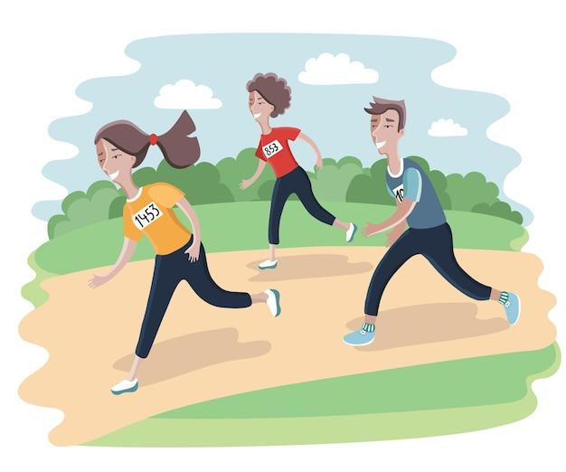 Illustraion del diseño de personajes de corredores de dibujos animados con otros detrás. concepto de campeón ganador - ilustración. mujer y hombre