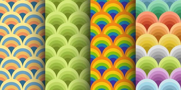 Illustratration de patrones sin fisuras de colores retro en conjunto