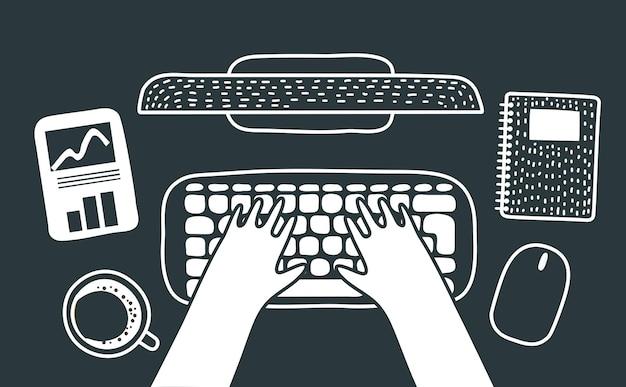 Illustrftion de dibujos animados de vector del espacio de trabajo con las manos escribiendo en el teclado. taza de café, diagrama, pantalla, nota, ratón. prosess de trabajo, vista superior. ilustración monohrom en colores blanco y negro.