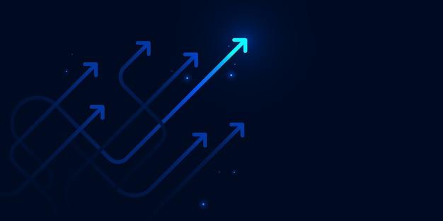 Ilumina flechas tortuosas sobre fondo azul oscuro con copia espacio concepto de crecimiento empresarial