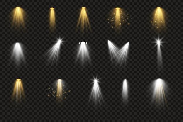 Iluminación brillante con focos. iluminación de escena, una colección de efectos transparentes.