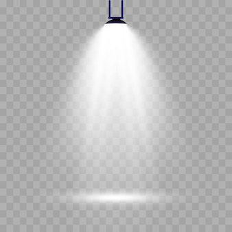 Iluminación de escena, efecto transparente. iluminación brillante con foco.