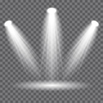 Iluminación de escena, efectos transparentes. focos vectoriales, efectos de luz.